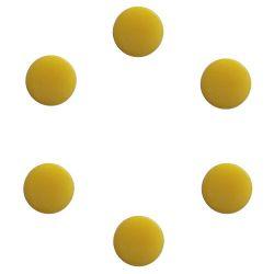 Boutons de mandoline ronds 14 mm env, jaunes, les 8 pcs