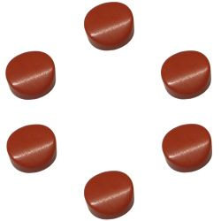 Boutons de mandoline ronds 14 mm env, rouge clair, bombés, les 8 pcs