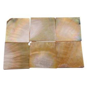 Plaques de nacre jaune ~30x30mm, épaisseur 2 mm, 6 pièces (~50cm2)