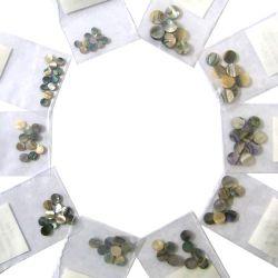 Assortiment de 10x10 pastilles nacre verte, diamètre 4,5mm à 9mm